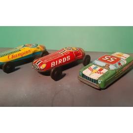 3 VINTAGE Tinplate Racing Cars Very Original
