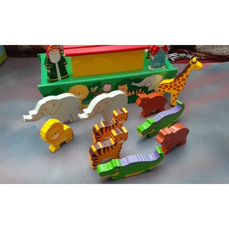 Wooden Boat With  Animal Figures